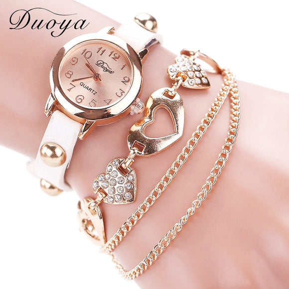 Duoya Brand Fashion Watches Women Luxury Rose Gold Heart Leather Wristwatches Ladies Bracelet Chain Quartz Clock Christmas Gift - efair.co