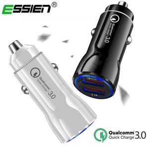 ESSIEN Quick Charge 3.0 USB Car Charger for Xiaomi Redmi Note 7 Mi 9 3.1A Fast Charging Adapter Car Charger For Samsung S10 S9 - efair.co