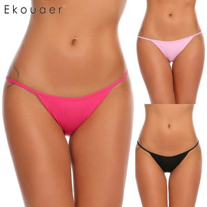 Ekouaer 3Pcs/Set Women Panties Sexy Solid Sleepwear Nightwear Lingerie Low Waist Sleek String Bikini Underwear Female Panty - efair Best spare parts online shopping website