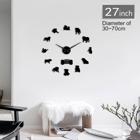 English Bulldog Contemporary 3D DIY Wall Clock With Cute Bone British Bulldog Dog Breeds Pet Shop Mirrors Surface Clock Watch - efair Best spare parts online shopping website