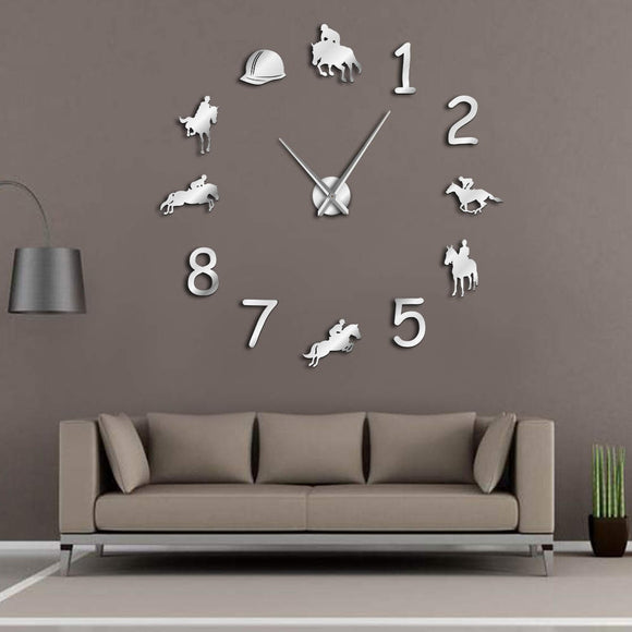 Equestrians Large Wall Clock Farmhouse Home Decor Cowboys Modern Design Giant Wall Clock Rodeo Horse Riding DIY Wall Watch - efair Best spare parts online shopping website