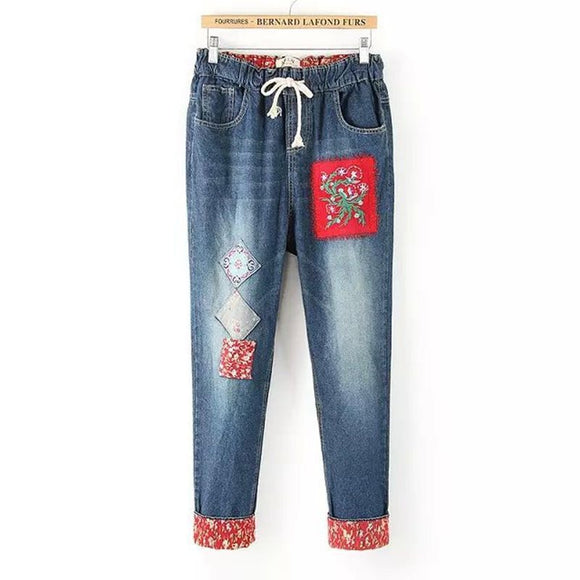 Ethnic Embroidery Elastic Haren Pants Denim Jeans Loose Pants Female Trousers Autumn Summer Thin Pants Flower Patch Decoration - efair Best spare parts online shopping website