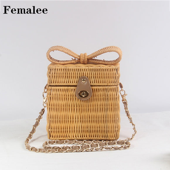 FEMALEE Bow Tie Shoulder Bags Knitting Hand-woven Straw Beach Bag Pastoral Box Square Rattan Packing Hasp Bag Handmade Vintage - efair Best spare parts online shopping website