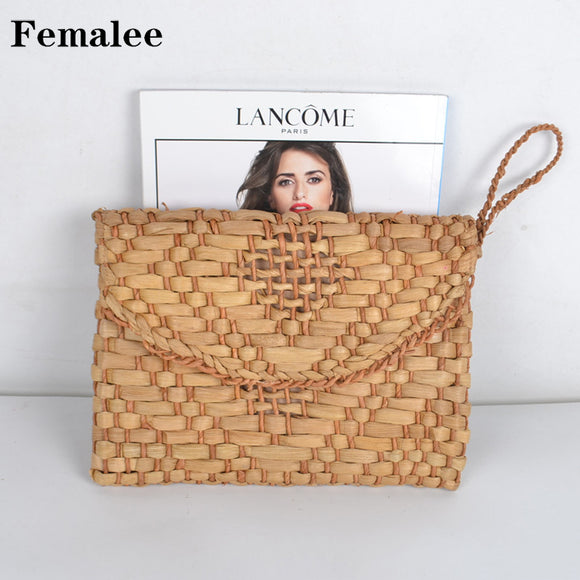 FEMALEE Corn Skin Knitted Women Fashion Day Clutch Envelope Straw Bag Woven Summer Totes Braided V Diamond Handmade Rattan Bag - efair Best spare parts online shopping website