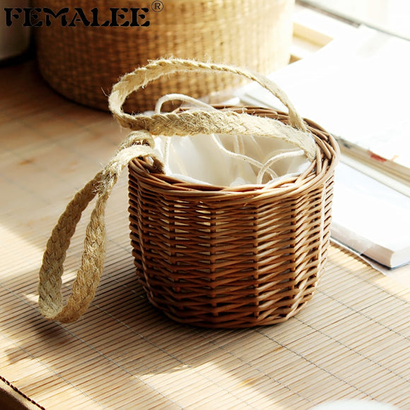 FEMALEE Ins Hot Summer Tie Top-Handle Wicker Bag Drawstring Strap Beach Handbag Casual Handmade Woven Rattan Bag Bucket Mini Bag - efair Best spare parts online shopping website