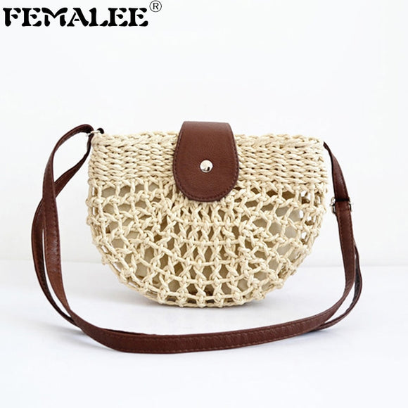 FEMALEE Mini Hollow Straw Shoulder Bag Bali Bohemian Woven Rattan Holiday Moon Messenger Bag Summer Ins Retro Hand Made Bags - efair Best spare parts online shopping website