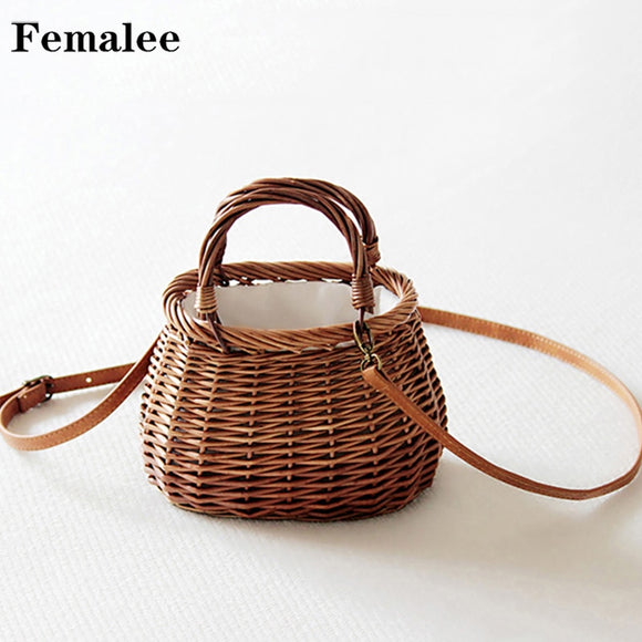 FEMALEE Ribbons Bow Tie Top-Handle Wicker Bags String Rural Natual Leather Strap Shoulder Bag Casual Handmade Woven Rattan Bags - efair Best spare parts online shopping website