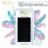 False Eyelash Extension 12 Lines/Tray Silk Cilios Soft Individual Eye lash Extensions C/CC/D Curl Russian Volume Lashes Quewel - efair.co
