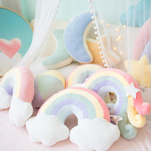 Fantastic sky series Pillow stuffed Moon shooting star & Rainbow plush toys soft shell cushion baby sleeping Pillow home decor - efair Best spare parts online shopping website