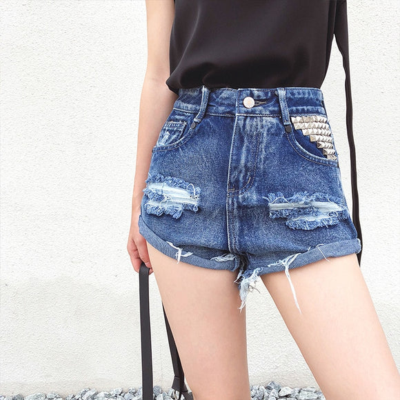 Fashion Denim Shorts Vintage Loose Blue Solid High Waist Jeans Shorts 2019 New Casual Ripped Rivet Wide Leg Shorts Plus Size - efair Best spare parts online shopping website