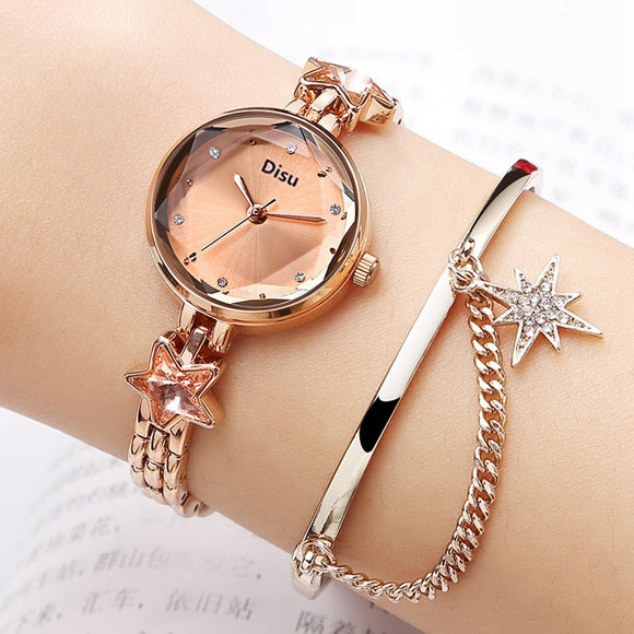 Fashion Luxury Watches Women Alloy Bracelet Watch High Quality Sapphire Star Ladies Quartz Watch Geometry Dial Simple Clock - efair.co