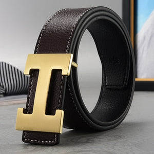 Fashion Men Belt 2019 Cowhide Leather Belts for Men Smooth Belts Buckle With H Women Letter Genuine Belts Cinturones Hombre - efair.co