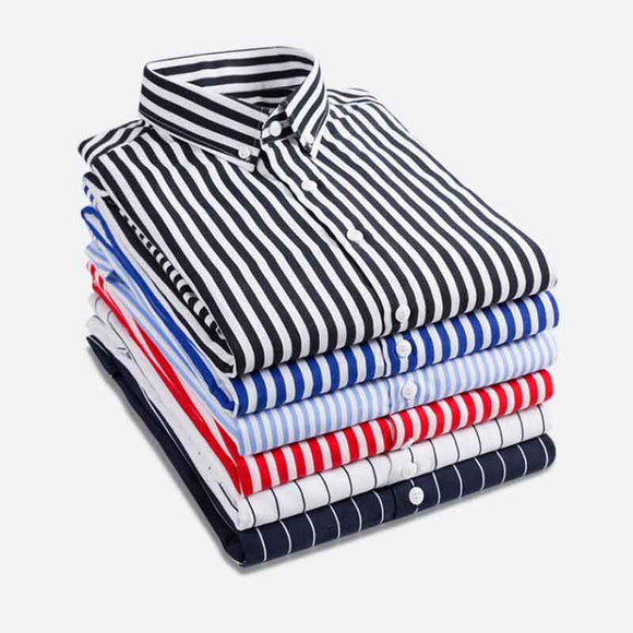 Fashion New 2019 Men Long Sleeve Shirts Male Striped Classic-fit Comfort Soft Casual Button-Down Shirt Casual Male Shirt Tops 5X - efair Best spare parts online shopping website