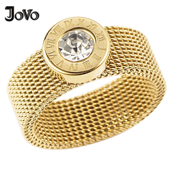 Fashion Roman Number Crystal Round Rings Gold Color Stainless Steel Mesh Chain Ring for women jewelry Bijoux Anel Feminino - efair Best spare parts online shopping website