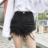 Fashion Summer Womens Irregular Wide Leg Ripped Hole Denim Shorts 2019 Casual High Waist Loose Frayed Jeans Short Plus Size - efair Best spare parts online shopping website