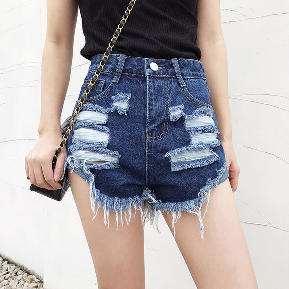 Fashion Summer Womens Irregular Wide Leg Ripped Hole Denim Shorts 2019 Casual High Waist Loose Frayed Jeans Short Plus Size - efair.co