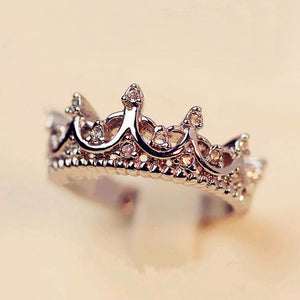 Fashion Vintage Silver Crystal Drill Hollow Crown Shaped Queen Temperament Rings For Women Party Wedding Ring Jewelry - efair Best spare parts online shopping website