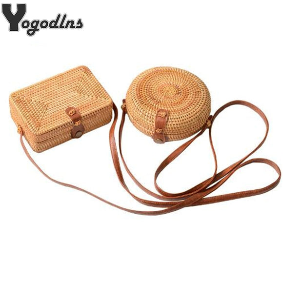 Fashion Women Summer Rattan Bags Round Square Straw Bag Handmade Woven Beach Crossbody Bags Circle Bohemia Bali Handbags - efair Best spare parts online shopping website