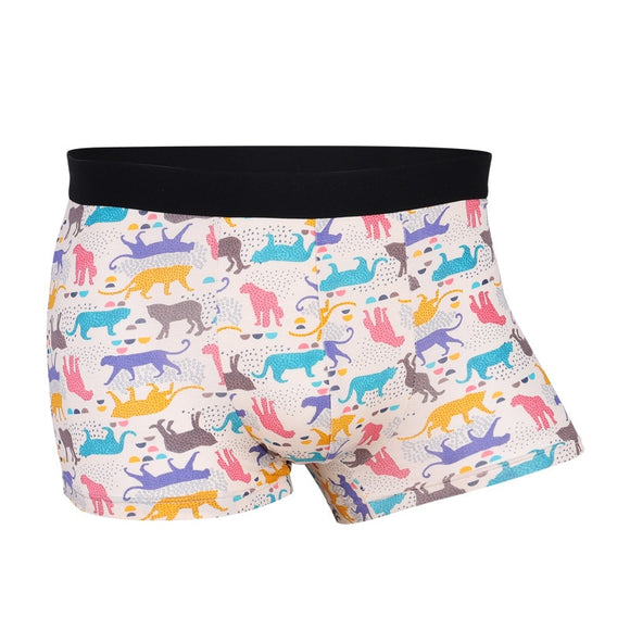 Fashion Youth Man Cartoon Modal Underwear Personality Print Male Boxer Shorts Middle Waist Breathable U Pouch Mens Underpants - efair.co