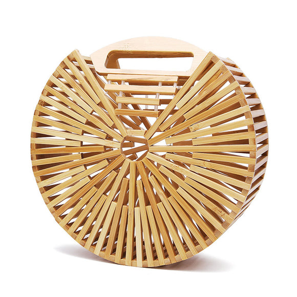 Fashion luxury handbags Women Bags Designer Round Hollow Hand Made Bag Bamboo Bag Clutch Bali Beach Holiday Female Handbag - efair Best spare parts online shopping website