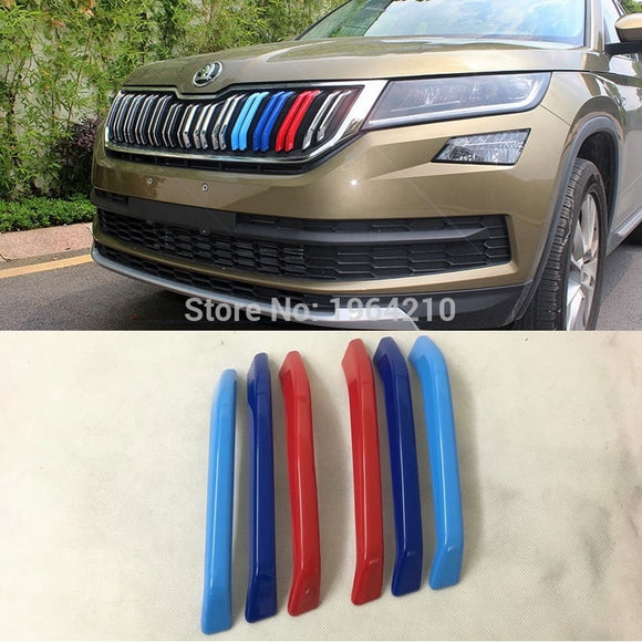For Skoda Kodiaq 2017 2018 2019 Front Grille Three-color Modified Reflective Car Sticker And Decal Car Styling 3Pcs - efair Best spare parts online shopping website