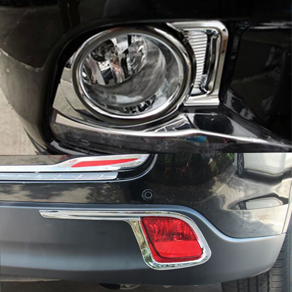 For Toyota Highlander 2015 ABS Chromed Front Rear Tail Fog Light Lamp Cover Trim Sticker Box Frame Auto Parts 4pcs/set r - efair Best spare parts online shopping website
