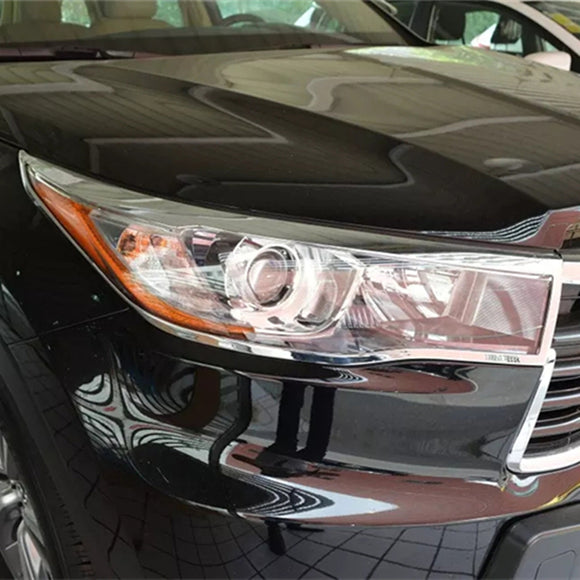 For Toyota Highlander Kluger 2014 2015 XU50 ABS Chrome Head Light Lamp Headlight Cover Trim Front Garnish Trim Auto Parts - efair.co
