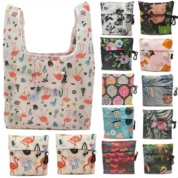 GABWE New Flamingo Recycle Shopping Bag Eco Reusable Shopping Tote Bag Cartoon Floral Shoulder Folding Pouch Handbags Printing - efair.co