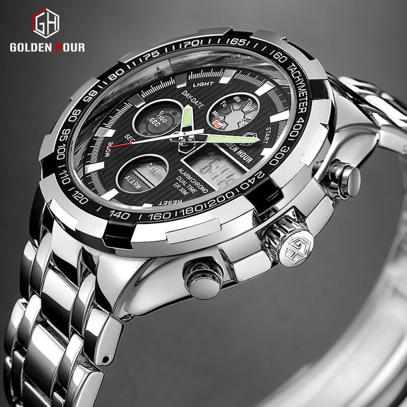 GOLDENHOUR Luxury Brand Waterproof Military Sport Watches Men Silver Steel Digital Quartz Analog Watch Clock Relogios Masculinos - efair Best spare parts online shopping website