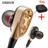 GSDUN Dual Drivers Earphone Super Bass Sport Headphones Earbuds with Mic Stereo Music Headset for Phone Iphone Xiaomi Samsung - efair Best spare parts online shopping website