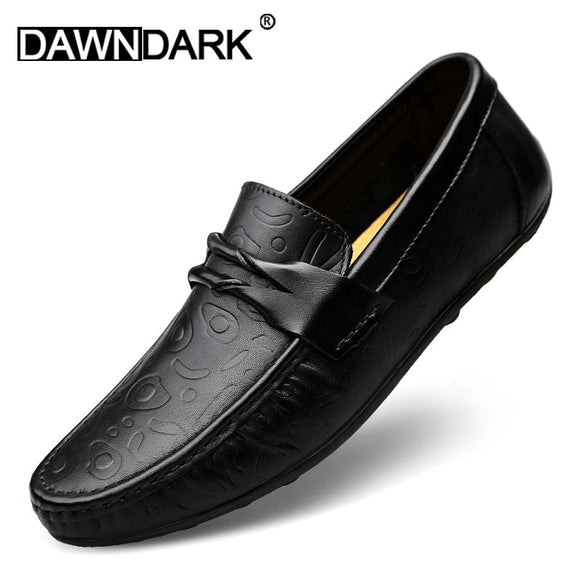 Genuine Leather Casual Men Shoes Slip on Male Brand Fashion Handmade Boat Shoes Comfortable Man Flats Moccasins Loafer Plus Size - efair.co