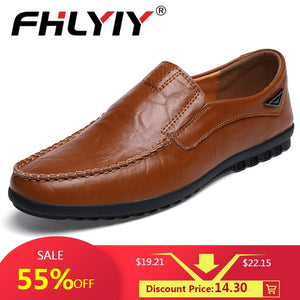 Genuine Leather Men's Casual Shoes Luxury Brand Mens Loafers Flats Breathable Slip on Black Driving Shoes Plus Size 38-47 - efair Best spare parts online shopping website