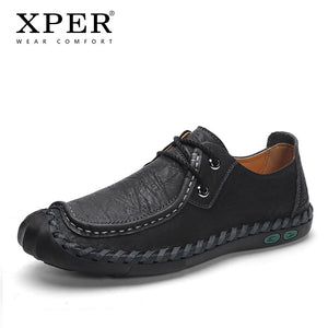 Genuine Leather Shoes Men Fashion Sewing Footwear Male Casual Driving Shoes Man Big Size Sneakers Lace-Up Soft Khaki #XP008 - efair Best spare parts online shopping website