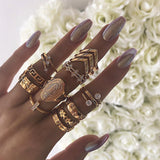 Guvivi 13pcs/Lot Vintage Gothic Midi Ring Set For Women Boho Crystal Geometric Flower Cross Hollow Knuckle Ring Wedding Jewelry - efair.co