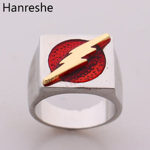 HANRESHE  DC Movie Comic The Flash Superhero Ring with Gold Color Flash Lighting Logo Ring Men And Women Jewelry - efair Best spare parts online shopping website
