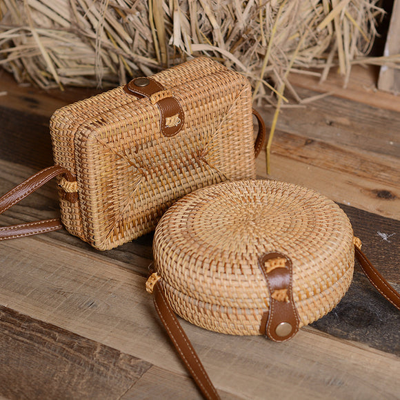 Handmade Rattan Woven Round Women Crossbody Bag Vintage Retro Straw Square Box Messenger Bag Lady Summer Cute Beach Shoulder Bag - efair Best spare parts online shopping website