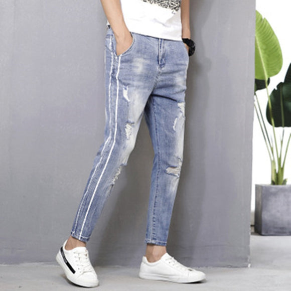 High quality men hole jeans Spring autumn Side stripe casual Denim pants mens cowboy trousers New Male slim jeans Brand clothing - efair Best spare parts online shopping website