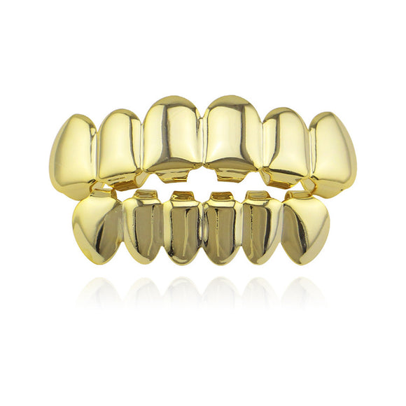 Hip Hop Gold Teeth Grillz Top & Bottom Grills Dental Mouth Punk Teeth Caps Cosplay Party Tooth Rapper Jewelry Gift XHYT1001 - efair.co