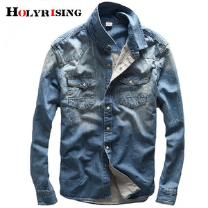 Holyrising 100% Cotton Blue Denim Shirt Men Casual Shirt Fashion Tops Pockets Leisure Men's Jeans Shirts camisa masculina 18843 - efair Best spare parts online shopping website
