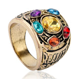 Hot Movie Marvel Avengers: Infinity War Thanos Infinity Gauntlet Power Cosplay Alloy Crystal Gem Ring Jewelry For Men Fans Gift - efair.co