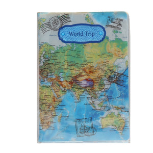 Hot Sale PVC Passport Cover Fashion Flat Printing World Map Travel Passport Holder Travel Card Case Document Cover   & - efair.co