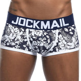JOCKMAIL Brand Male Panties Breathable Boxers Cotton Men Underwear U convex pouch Sexy Underpants Printed leaves Homewear Shorts - efair Best spare parts online shopping website