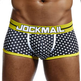 JOCKMAIL Brand Male Panties Breathable Boxers Cotton Men Underwear U convex pouch Sexy Underpants Printed leaves Homewear Shorts - efair.co
