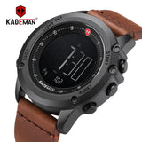 KADEMAN Military Sports Men's Watch Digital Display Waterproof Step Counter Leather Clock Top Luxury Brand LED Male Wristwatches - efair Best spare parts online shopping website