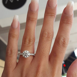 KISS WIFE Classic Engagement Ring 6 Claws Design AAA White Cubic Zircon Female Women Wedding Band CZ Rings Jewelry - efair Best spare parts online shopping website