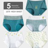 LANGSHA 5Pcs/lot Women Panties High Waist Pure Cotton Underwear Cute Printed Seamless Briefs Ladies Slimming Panty Plus SizeXXL - efair Best spare parts online shopping website