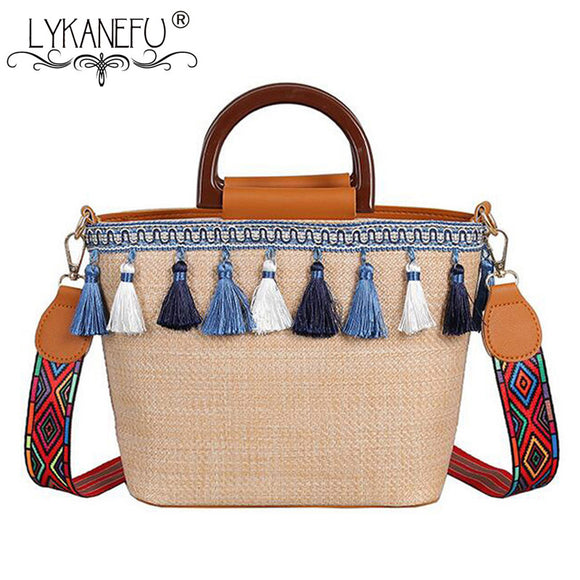 LYKANEFU Summer Beach Women's Shoulder Bag Hand Made Exquisiteness Straw Bags Designer Handbag Tote Purse with Wide Strap - efair Best spare parts online shopping website