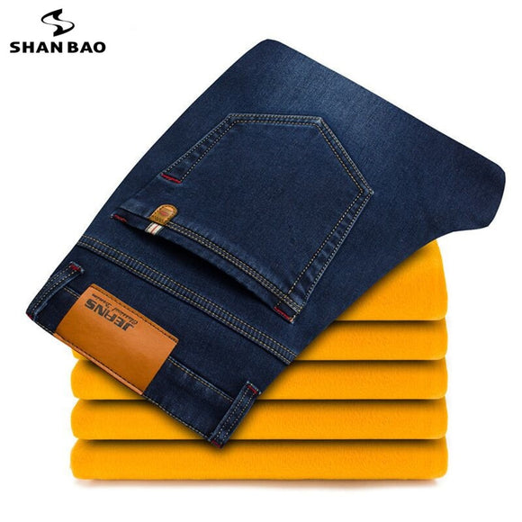 Large size 28-46 young men's brand casual jeans 2019 winter new thick warm jeans good quality fashion denim trousers black blue - efair.co
