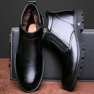 Leather shoes men 2018 winter new men's snow boots, leisure warm boots, old men's shoes, and men's shoes. - efair Best spare parts online shopping website
