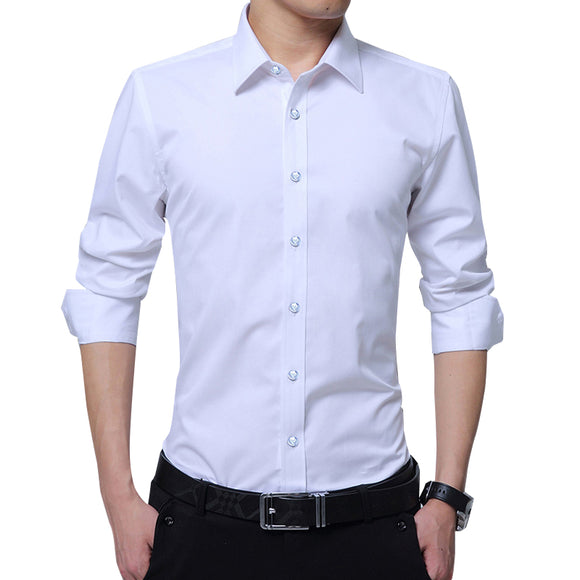 Legible Casual Social Formal shirt Men long Sleeve Shirt Business Slim Office Shirt male Cotton Mens Dress Shirts white 4XL 5XL - efair Best spare parts online shopping website